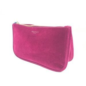 Gucci Beauty Velvet Pink Handbag Cosmetic Bag New